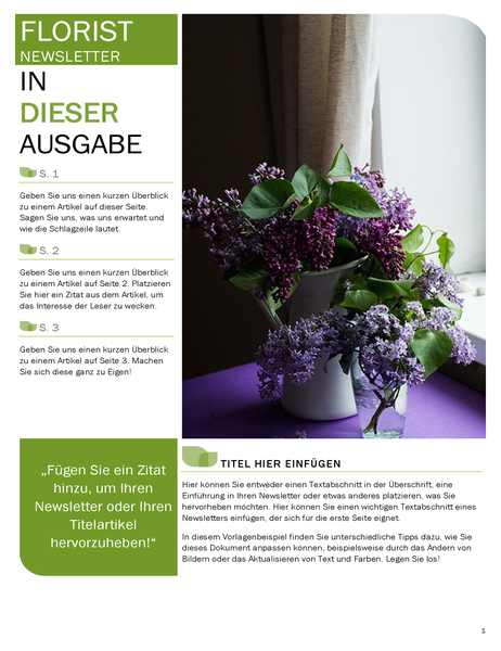 Newsletter für Floristen