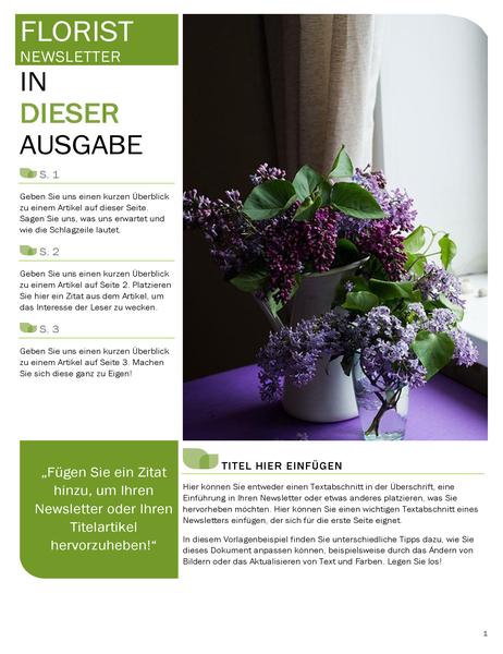 Bulletin d'informations fleuriste