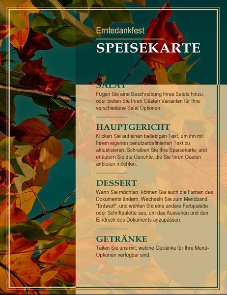 Erntedankfest-Menü mit Herbstlaub