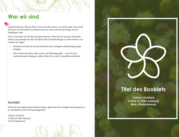 Grüne florale Werbebroschüre