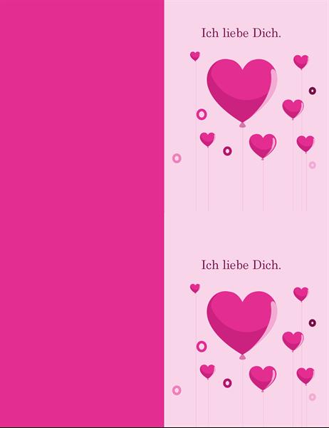 Karte zum Valentinstag mit Herzballons