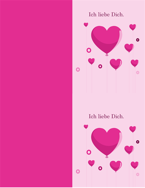 Carte de ballons en forme de coeur Saint-Valentin