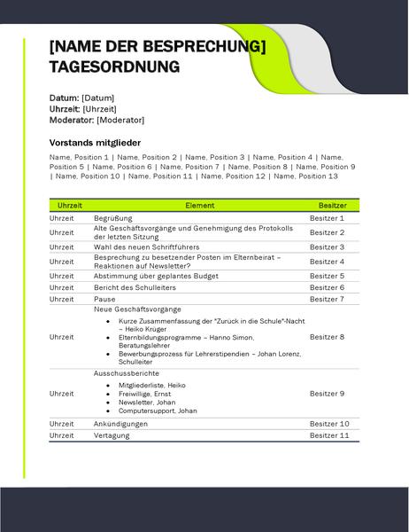 Agenda für Besprechungen im Bildungsbereich