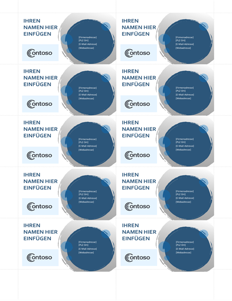 Visitenkarten mit blauem Kreisen