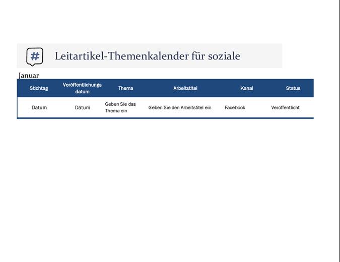 Leitartikel-Themenkalender für soziale Medien
