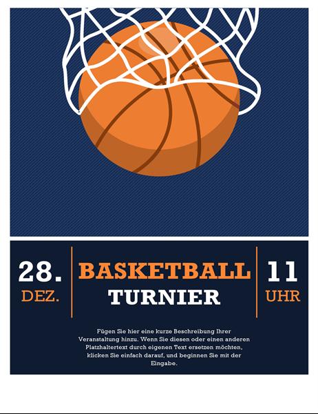 Handzettel für Basketball-Turnier