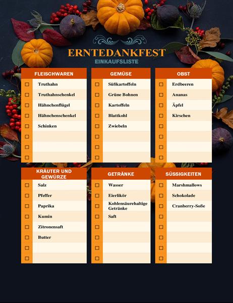 Die natürliche Einkaufsliste zum Erntedankfest
