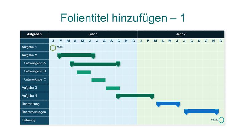 Blaues Zwei-Jahres-Gantt-Diagramm