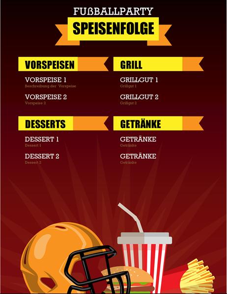 Speisekarte für Fußballparty