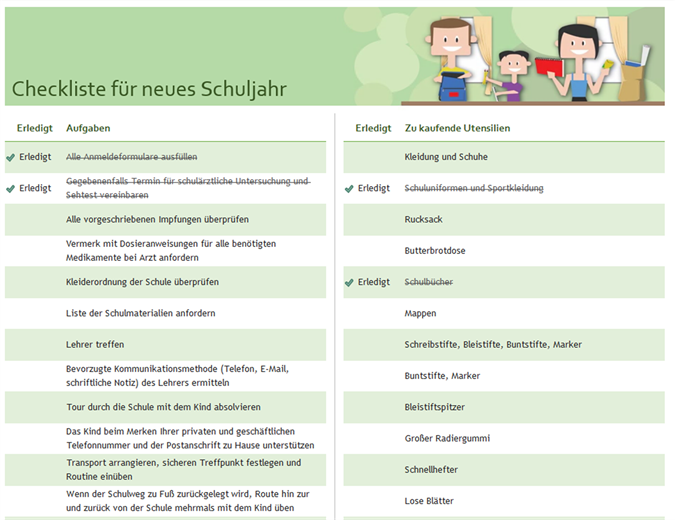 Checkliste für neues Schuljahr