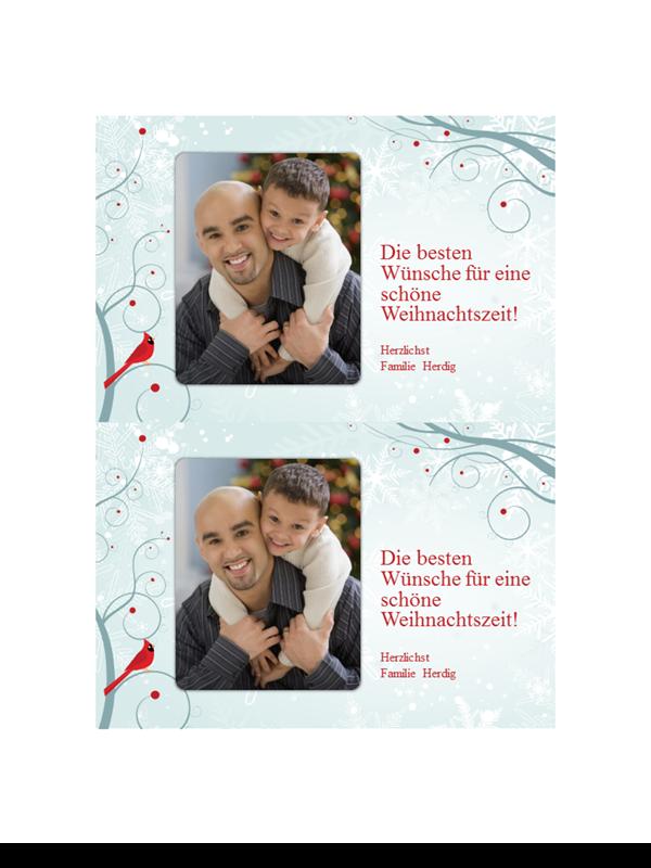 Urlaubs-Fotokarten mit Schneeflocken-Design (zwei pro Seite)