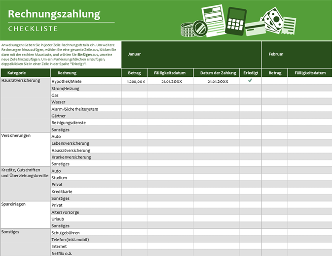 Checkliste für die Bezahlung von Rechnungen