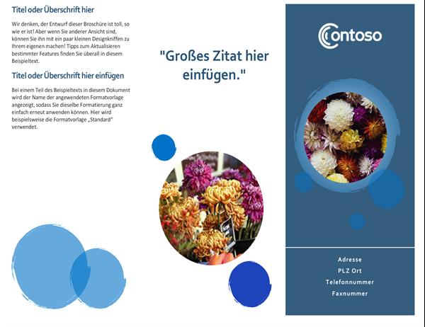 Broschüre mit blauen Kreisen