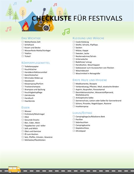 Checkliste für Festivals