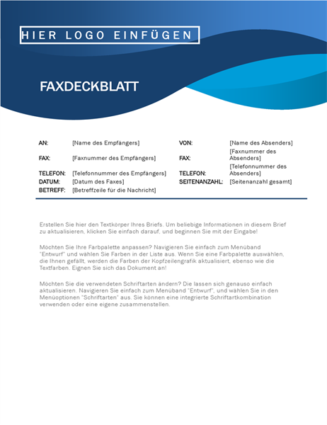 "Faxdeckblatt ""Blaue Kurve"""