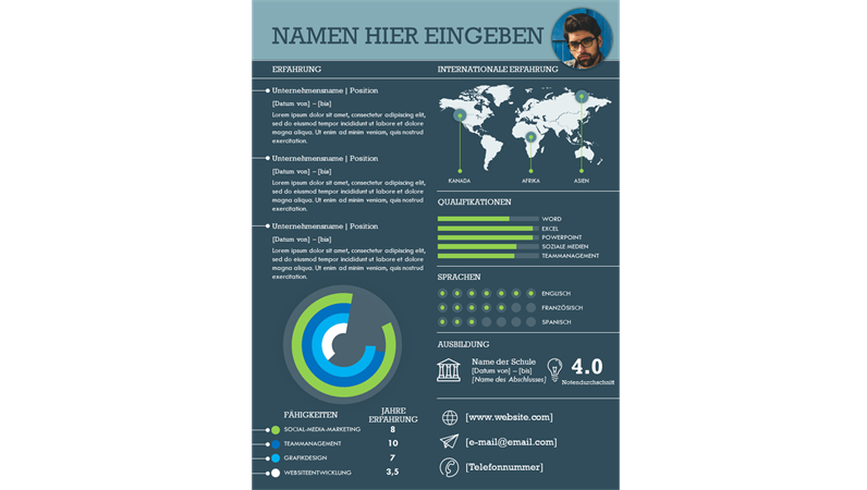 Internationaler Lebenslauf mit Infografiken