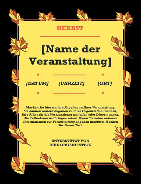 """Veranstaltungshandzettel """"Herbstlaub"""""""