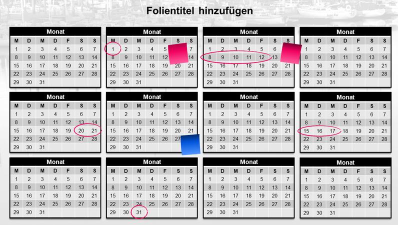 Jahreskalender mit Haftnotizen