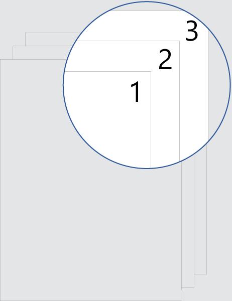 Alle Seiten (oben) nummeriert