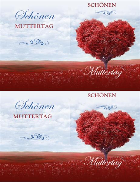 """Muttertagskarte """"Baum mit Herzen"""""""