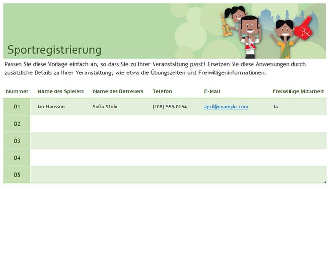 Sportregistrierung