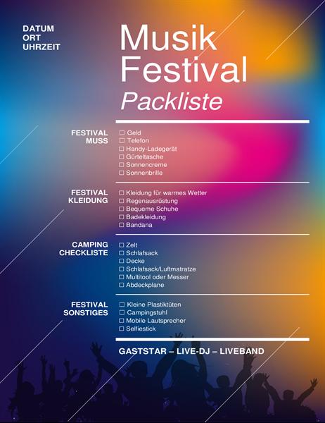 Musikfestival-Packliste