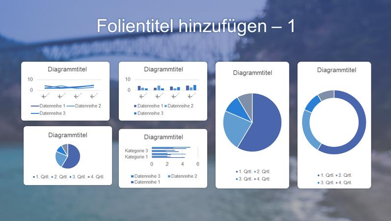 Blaues Sechs-Diagramm-Dashboard