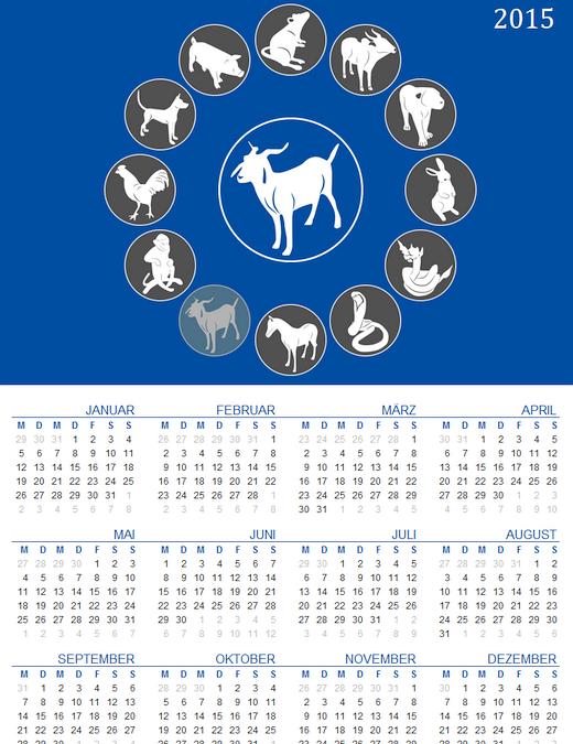 Jahreskalender mit chinesischen Sternzeichen (Mo-So) - Jahreszahl variabel