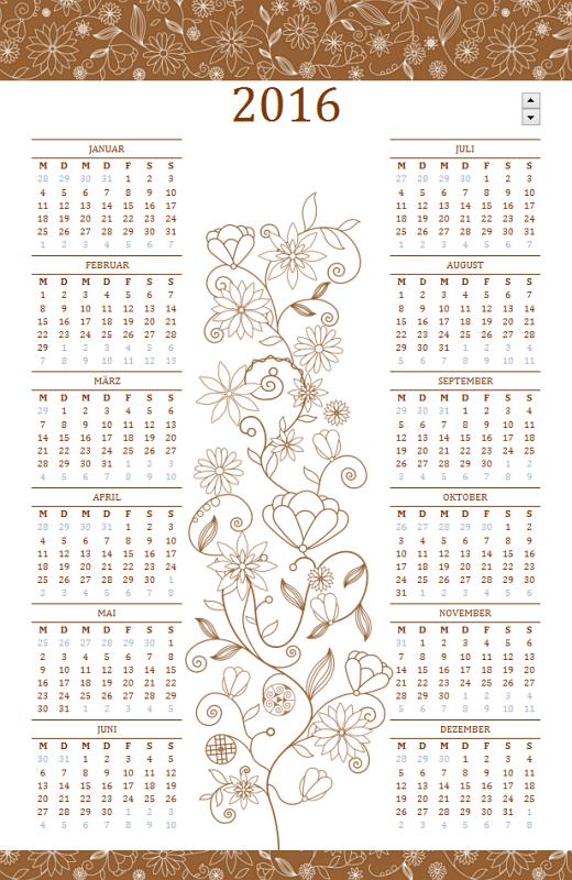 Jahreskalender (Mo-So) mit elegantem Design - Jahreszahl variabel