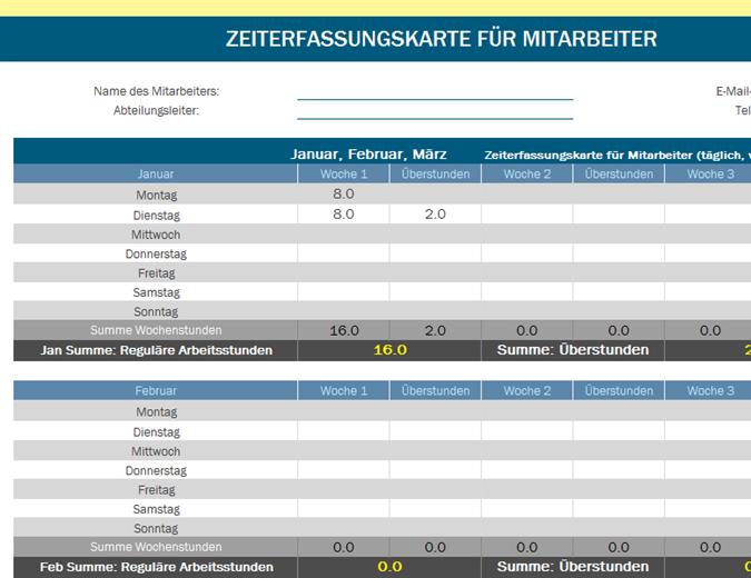 Arbeitszeitnachweis für Mitarbeiter (blau und grau)