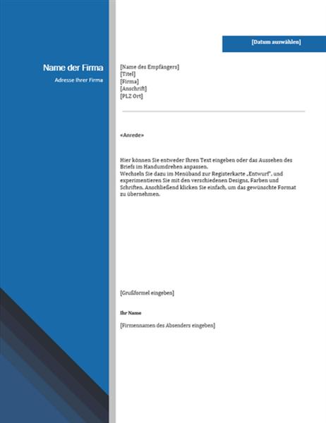 Geschäftsbrief (blauer Rand und Farbverlauf)