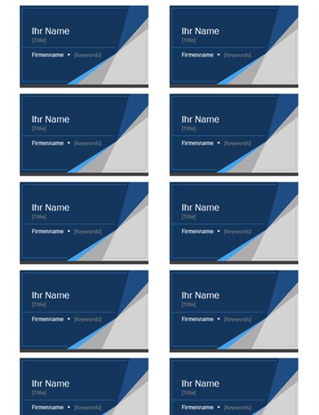 Visitenkarten (blauer Rand und Farbverlauf, pro Seite 10 Stück)