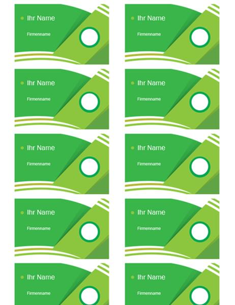 """Visitenkarten(Design """"Grüner Wald"""", pro Seite 10 Stück)"""