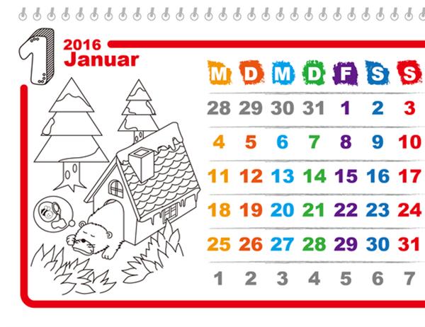 Illustrierter Jahreszeitenkalender zum Ausmalen (Mo-So) (ohne Feiertage)