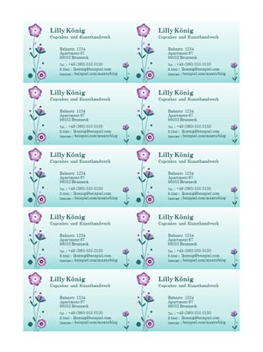 Visitenkarten (Blumenabbildung, 10 pro Seite)