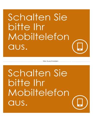"""Erinnerungsposter zum Deaktivieren der Mobiltelefone (Design """"Orange"""")"""