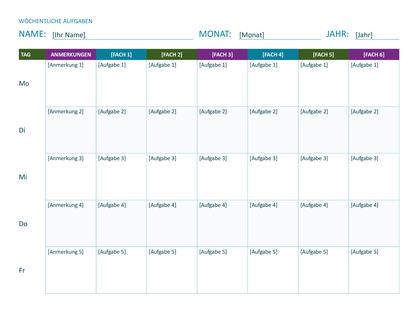 Wöchentlicher Aufgabenplan