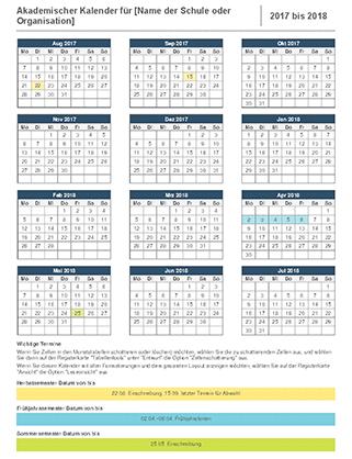 Akademischer Kalender 2017–2018