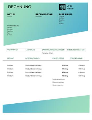 Servicerechnung (Design mit grünem Farbverlauf)