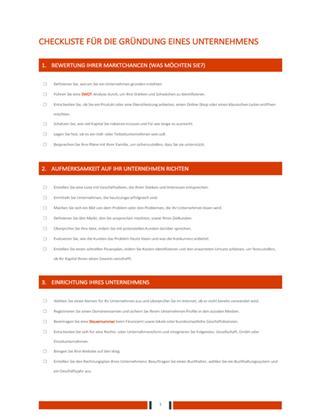 Checkliste für die Gründung eines Unternehmens