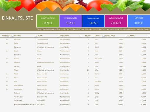 Excel einkaufsliste vorlage kostenlos