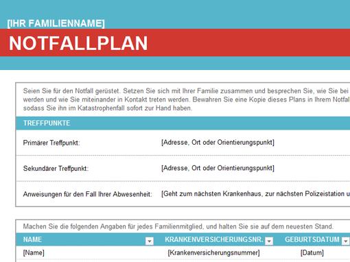 Notfallplan für die Familie - Office Templates