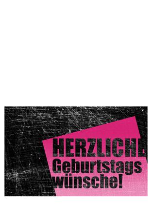 """Geburtstagskarte, Hintergrund """"Kratzer"""" (pink, schwarz, Mittelfaltung)"""