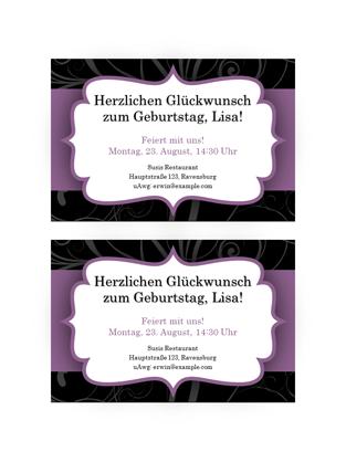 """Partyeinladung (Design """"Violettes Band"""")"""