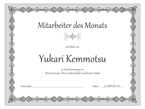 """Urkunde """"Mitarbeiter des Monats"""" (Design """"Graue Kette"""")"""