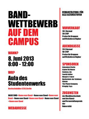 Handzettel für Studierende (Rot und Schwarz)