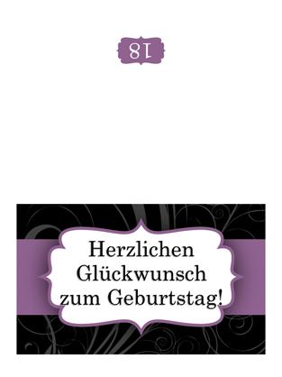 """Geburtstagskarte (im Design """"Lilafarbenes Band"""", Mittelfaltung)"""