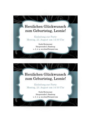 """Partyeinladungen (Design """"Blaues Band"""", 2 pro Seite)"""