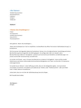 """Anschreiben für Lebenslauf (Design """"Funktional"""")"""