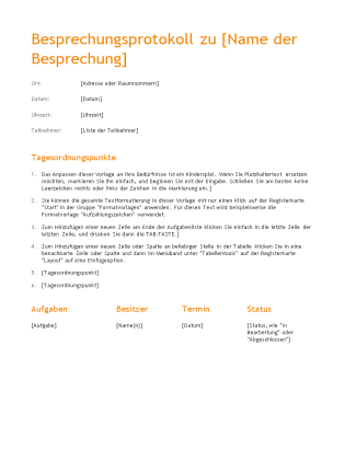 "Besprechungsnotizen (Design ""Orange"")"